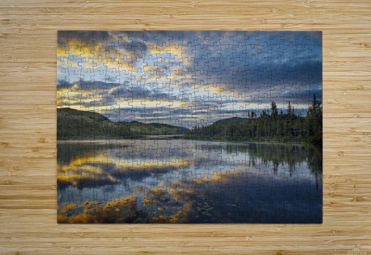 Lake Sunrise  HD Metal print with Floating Frame on Back