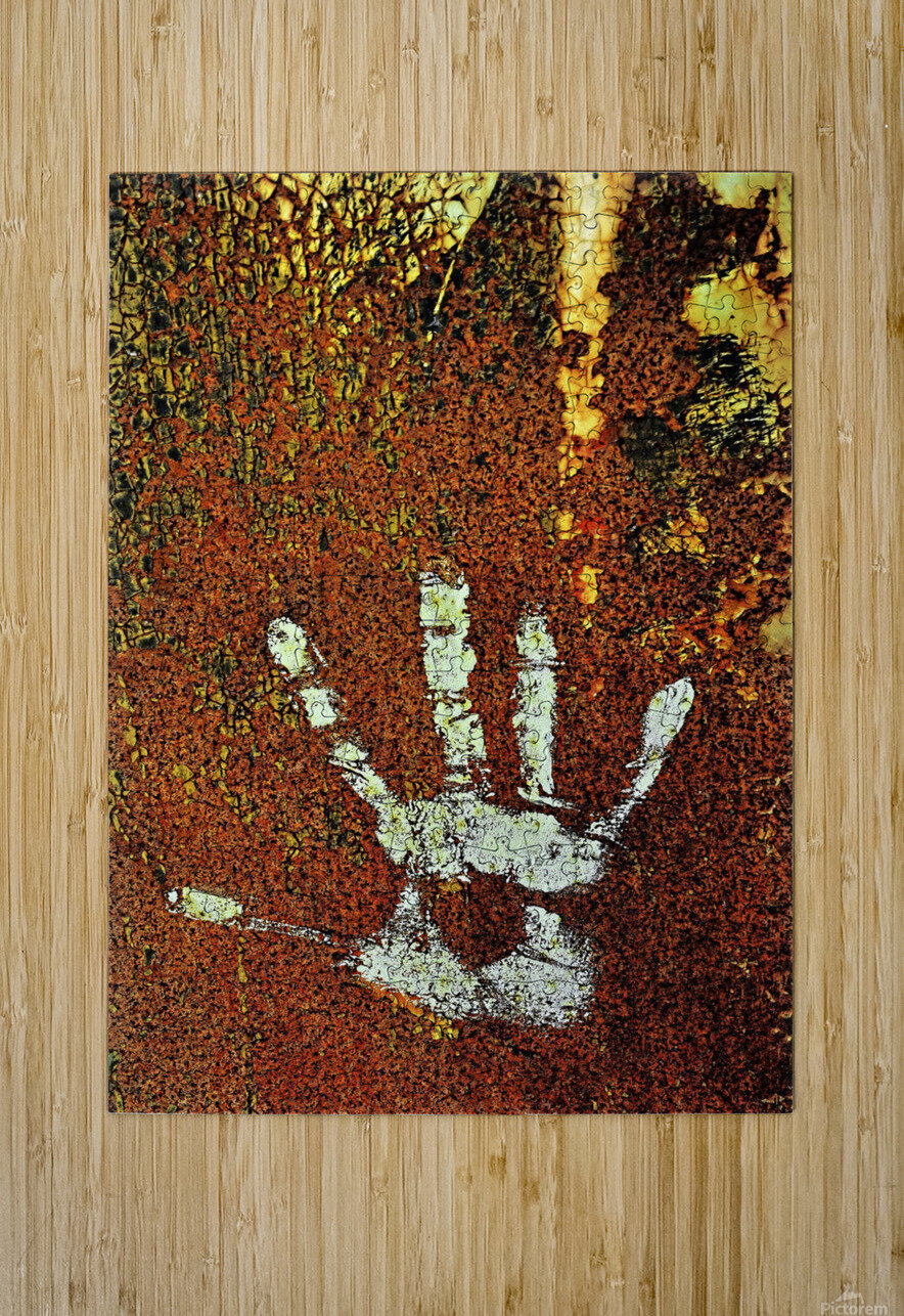 Rusty Door Hand Print  HD Metal print with Floating Frame on Back