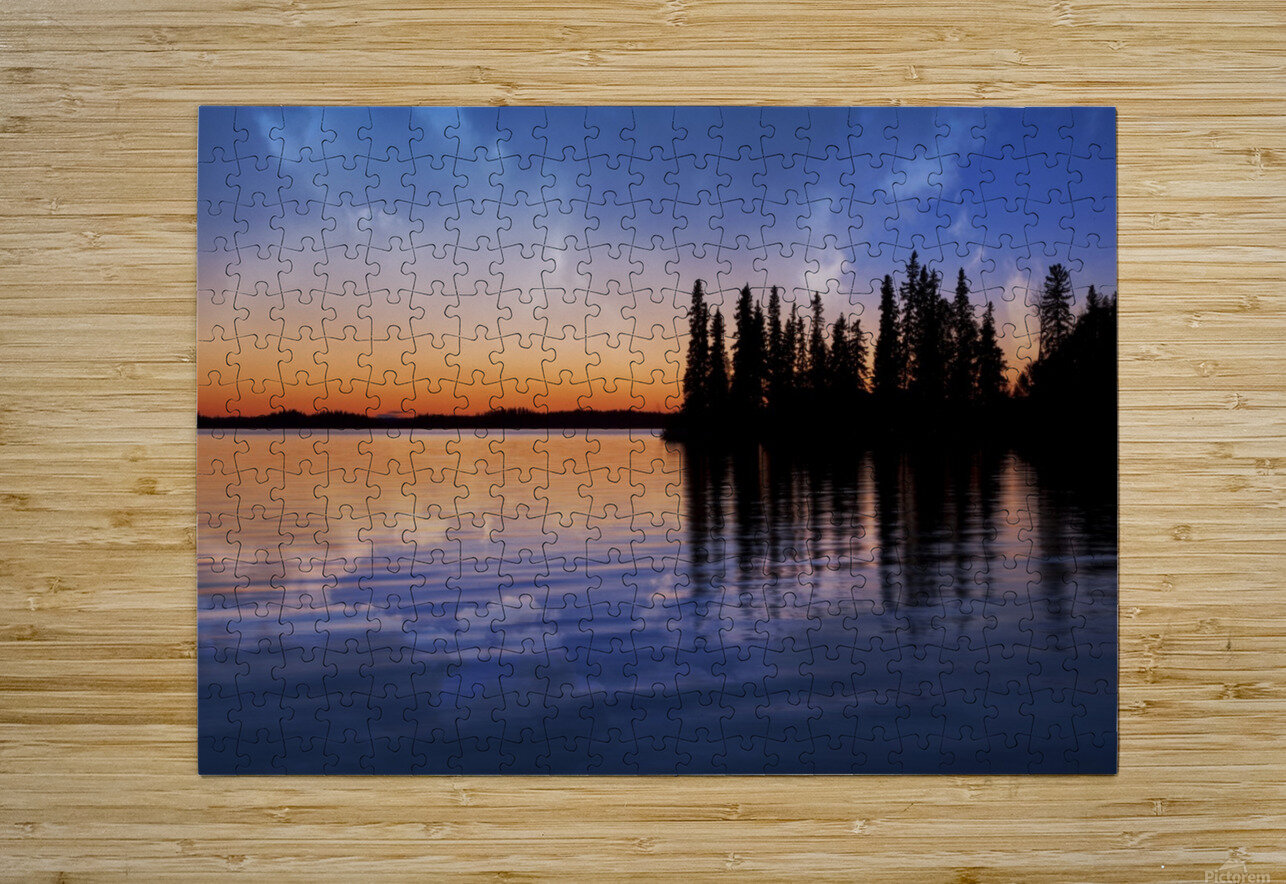 Lake Sunset  HD Metal print with Floating Frame on Back