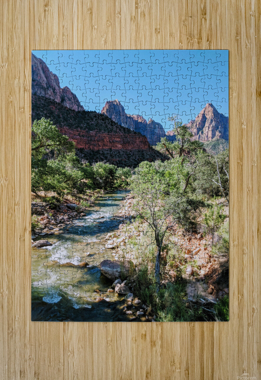 Zion in Morning Light  HD Metal print with Floating Frame on Back