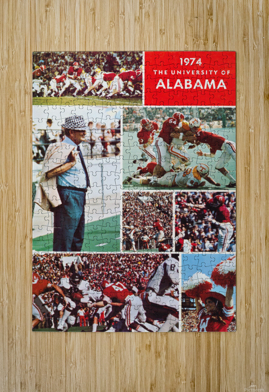 1974 Alabama Football Print  HD Metal print with Floating Frame on Back