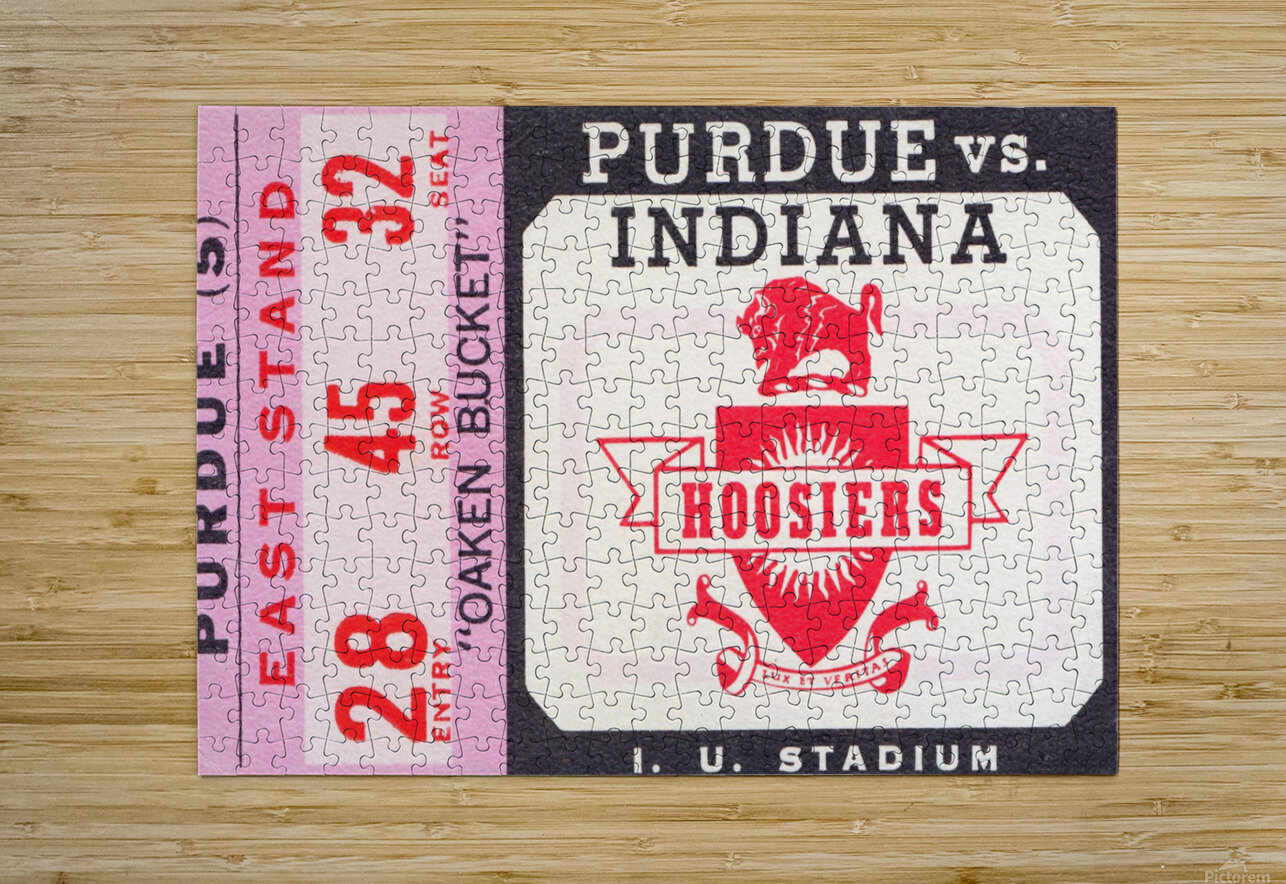 Vintage Indiana Hoosiers Football Ticket Stub  HD Metal print with Floating Frame on Back