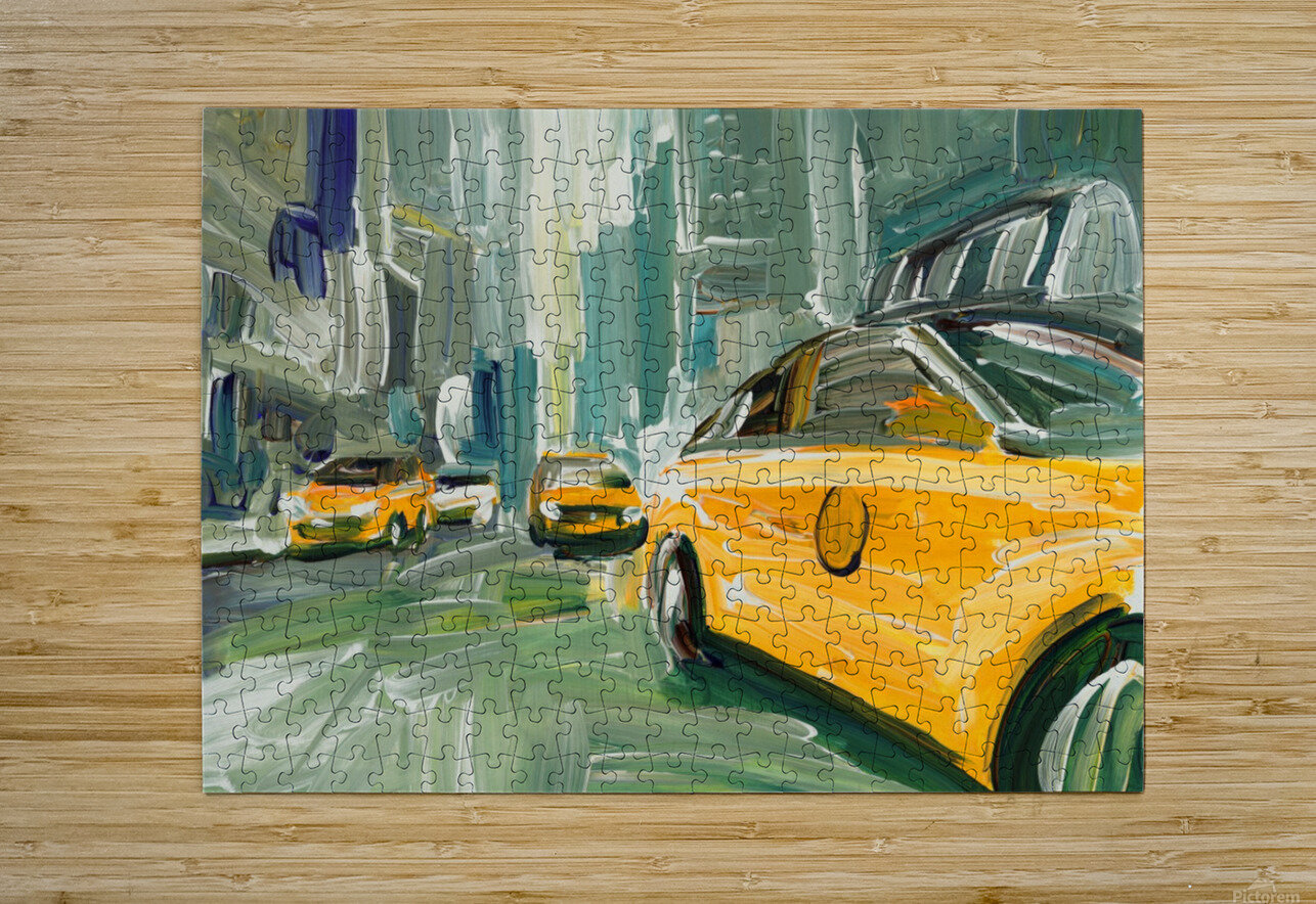 Yellow Cabs   HD Metal print with Floating Frame on Back