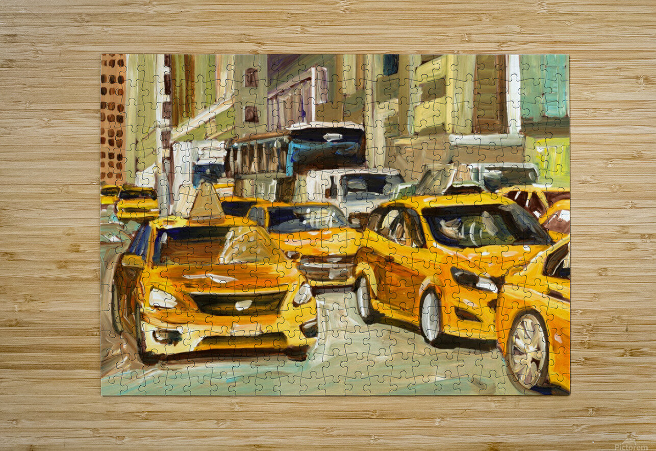 Cabs rushing By  HD Metal print with Floating Frame on Back