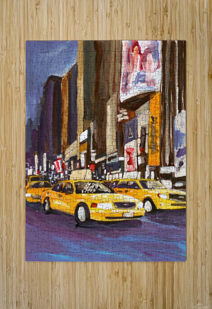 Cabs at Night  HD Metal print with Floating Frame on Back