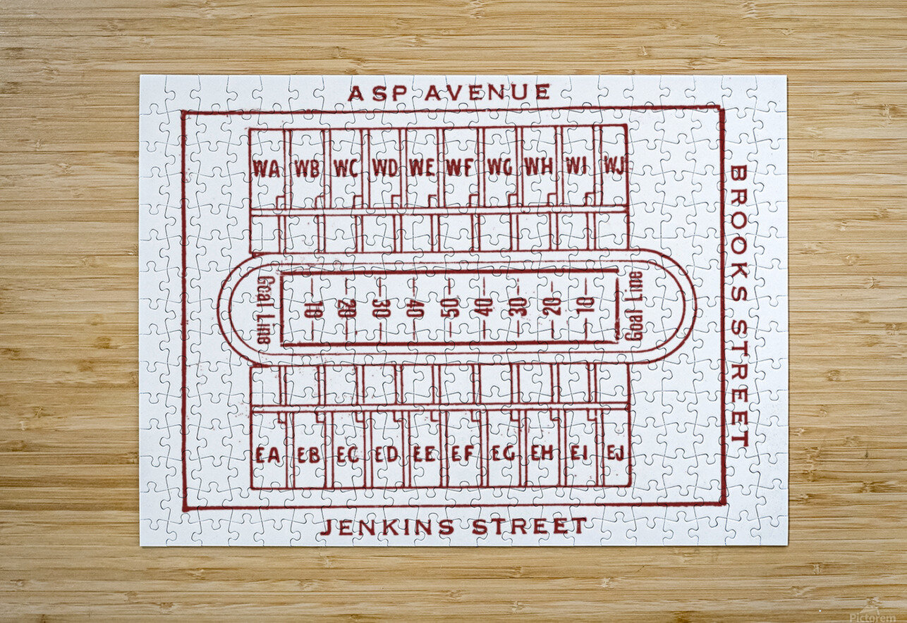 1940 Oklahoma Football Owen Field Map  HD Metal print with Floating Frame on Back