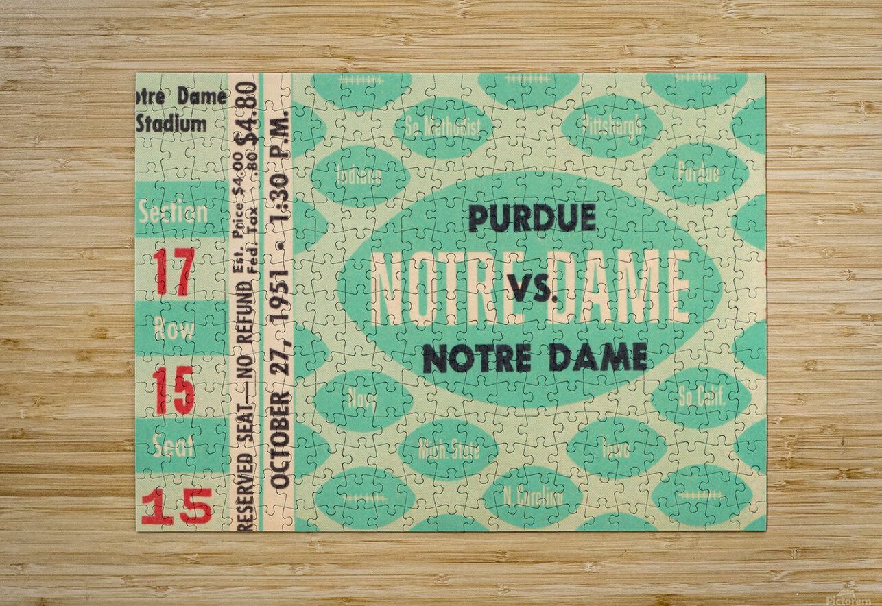 1951 Notre Dame vs. Purdue  HD Metal print with Floating Frame on Back