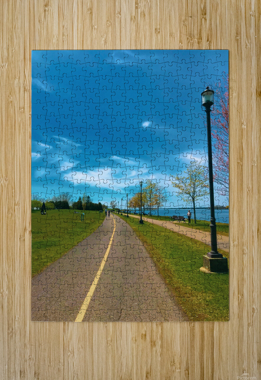 Cycling path  HD Metal print with Floating Frame on Back