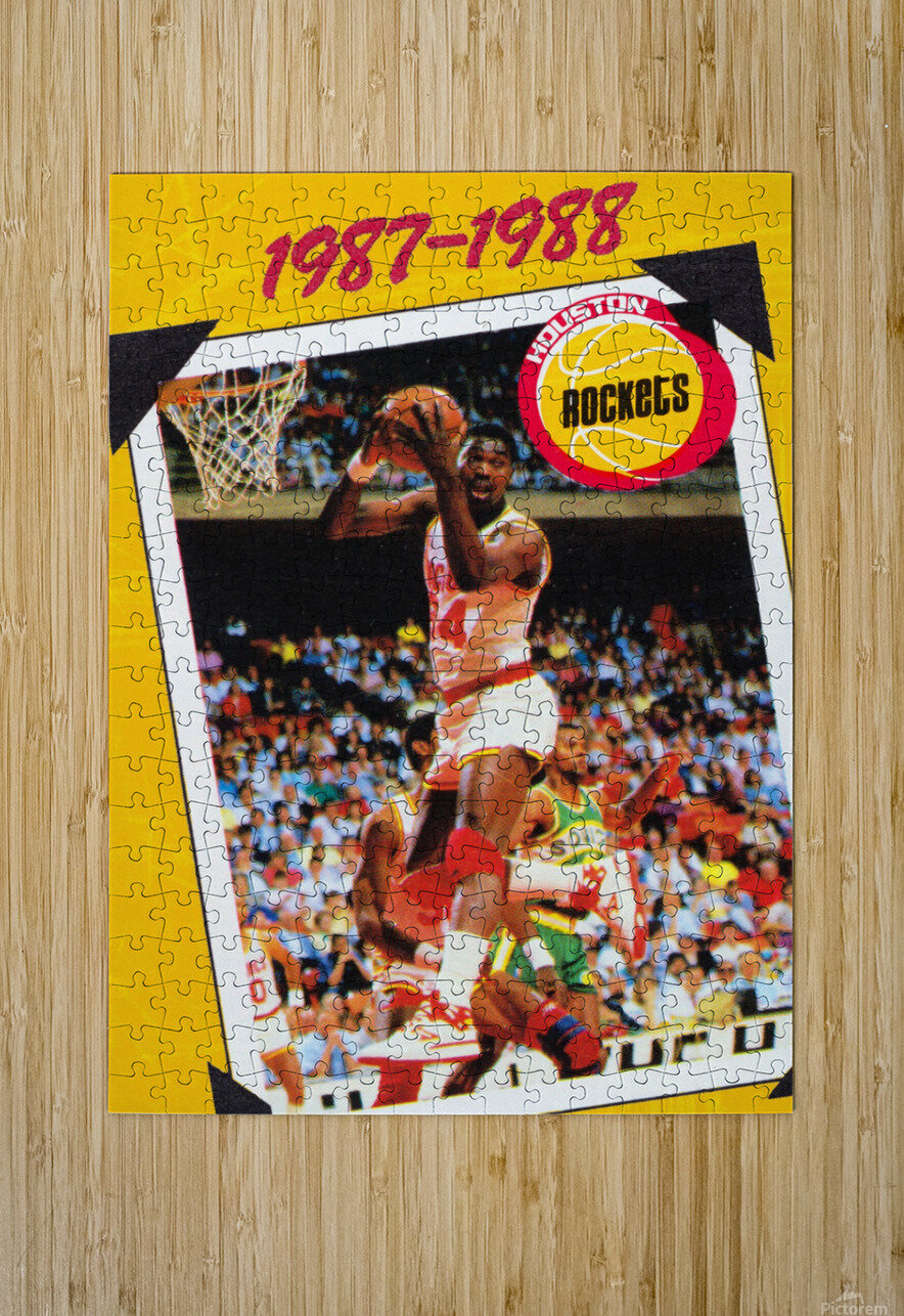 1987 Hakeem Olajuwon Houston Rockets  HD Metal print with Floating Frame on Back