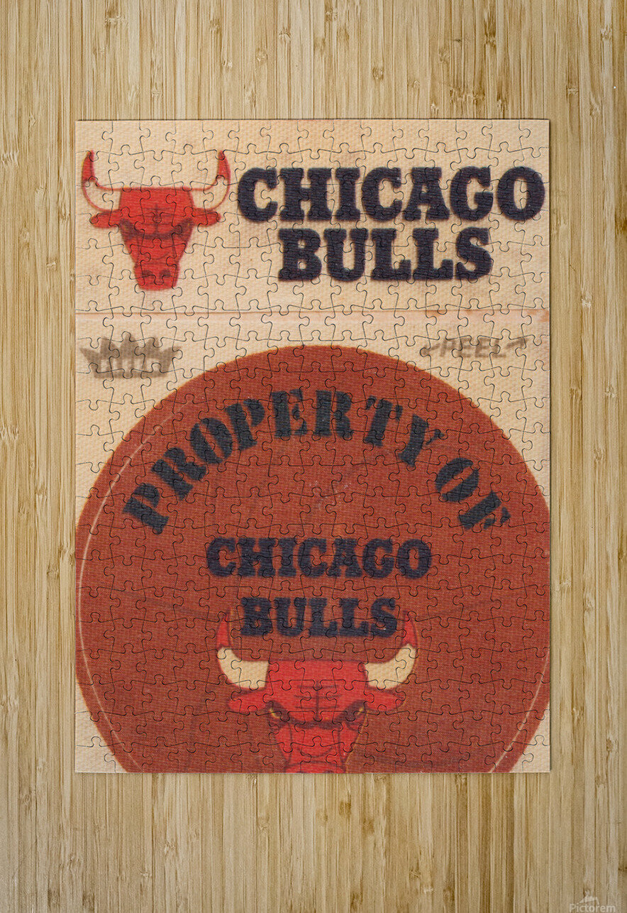 1974 Chicago Bulls Fleer Decal Art  HD Metal print with Floating Frame on Back