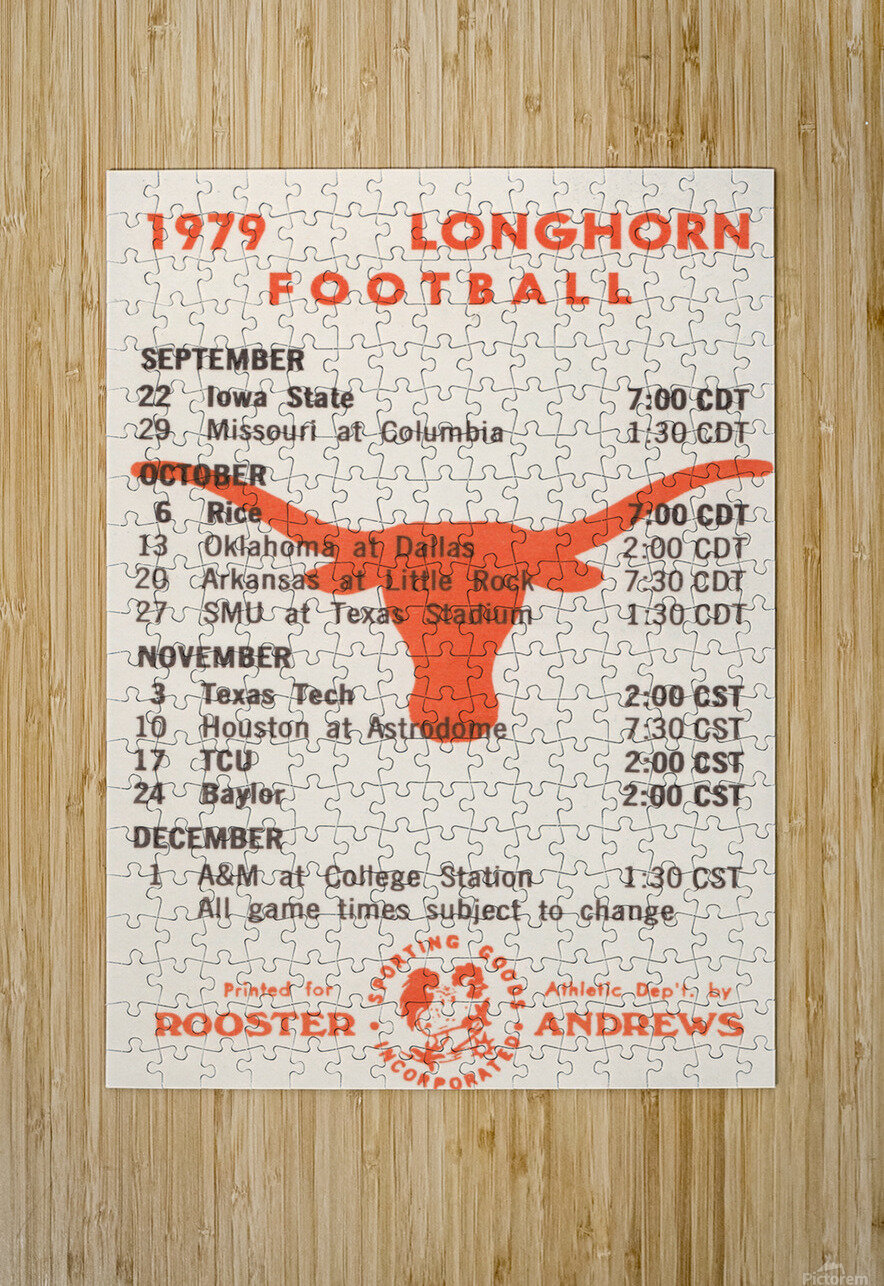 1979 Texas Longhorn Football  HD Metal print with Floating Frame on Back