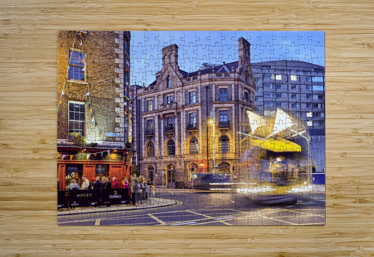 City street with people outside of pub at night Dublin Ireland  HD Metal print with Floating Frame on Back