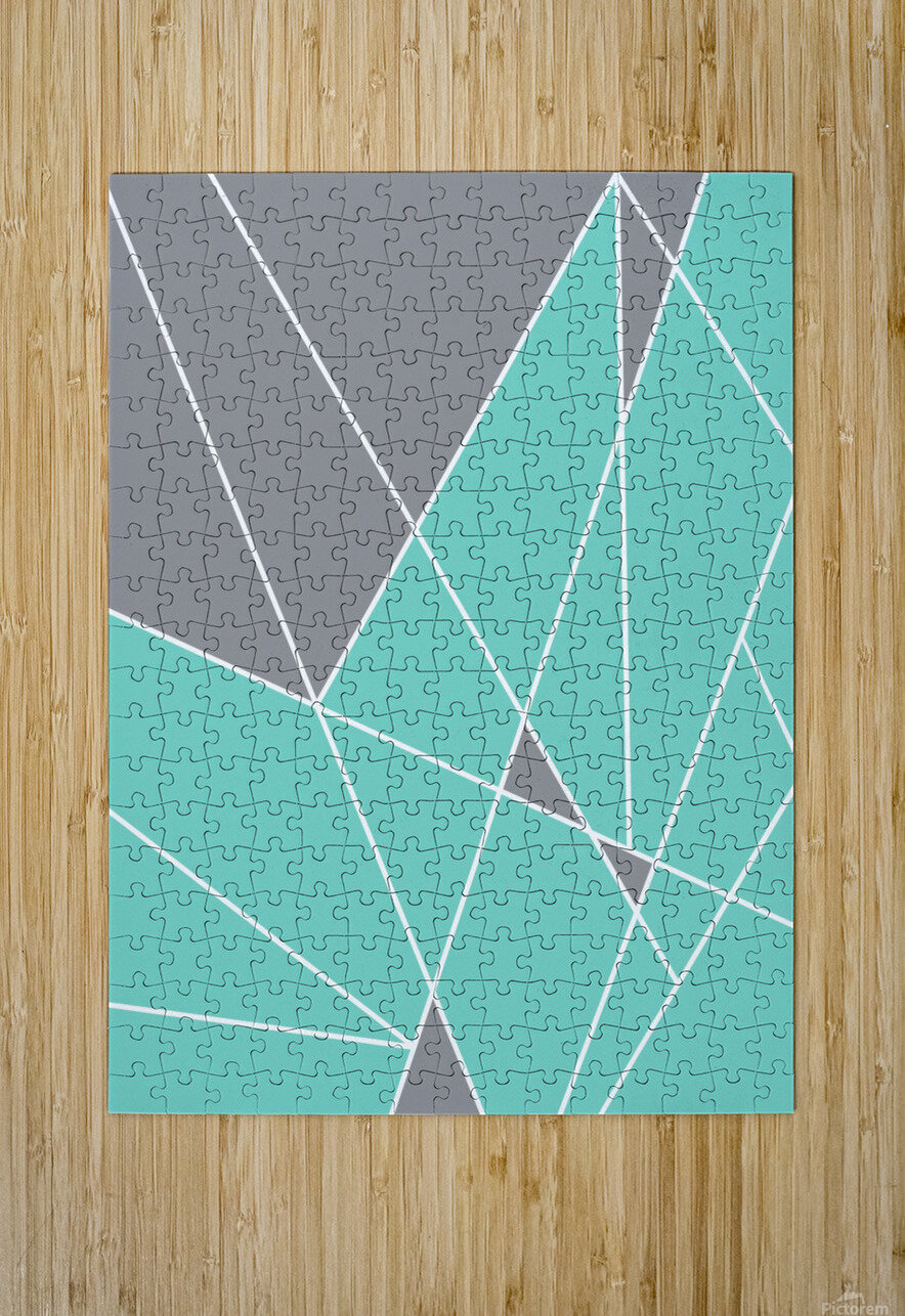 Gray Teal Triangles Geometric Art GAT101-2  HD Metal print with Floating Frame on Back
