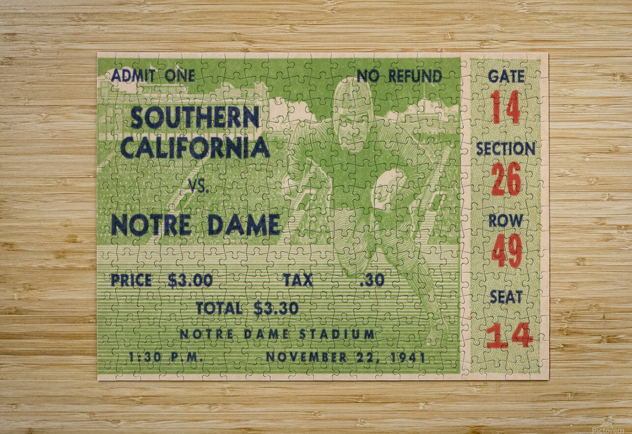 1941 Notre Dame vs. USC  HD Metal print with Floating Frame on Back