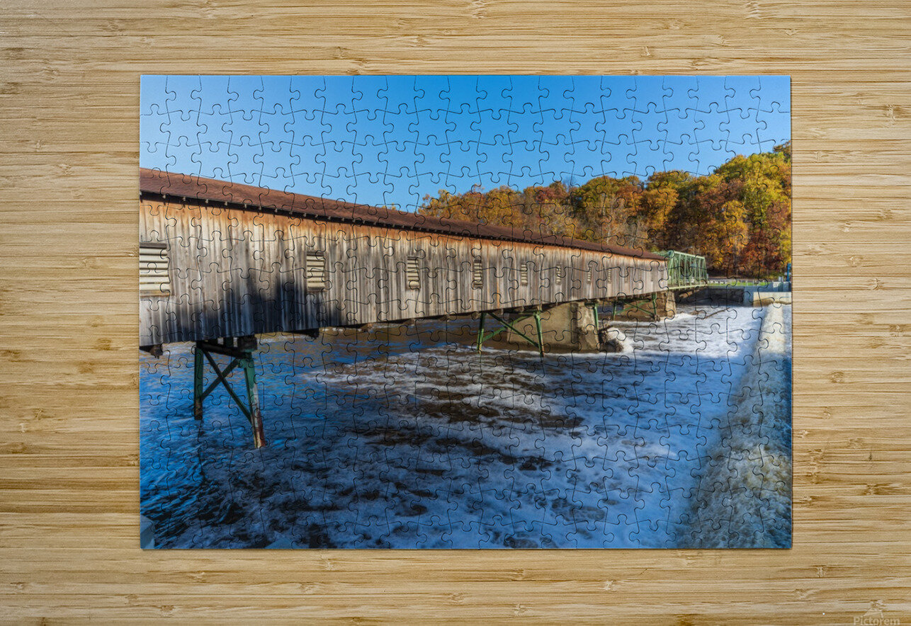 Harpersfield covered bridge and dam Ashtabula County autumn 2020  HD Metal print with Floating Frame on Back