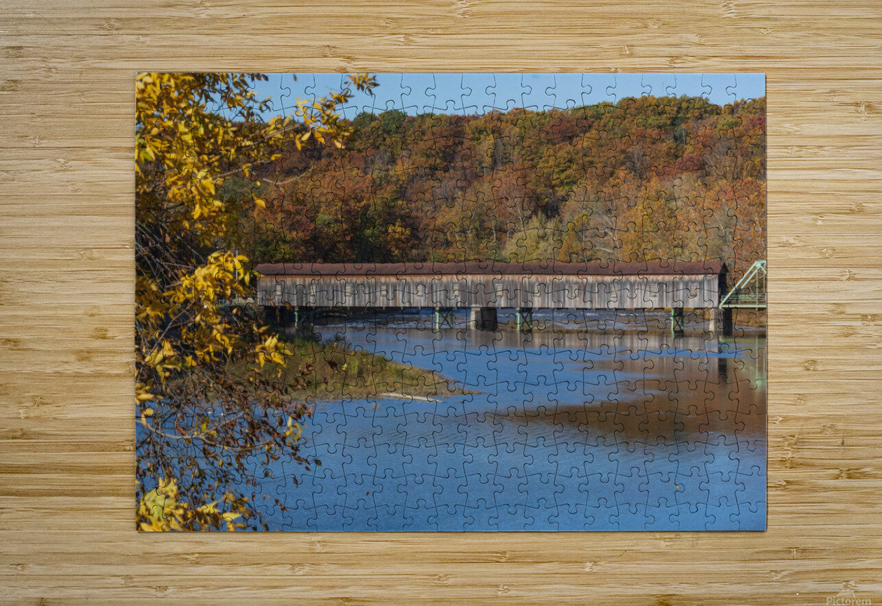 Harpersfield Ohio covered bridge in autumn  HD Metal print with Floating Frame on Back