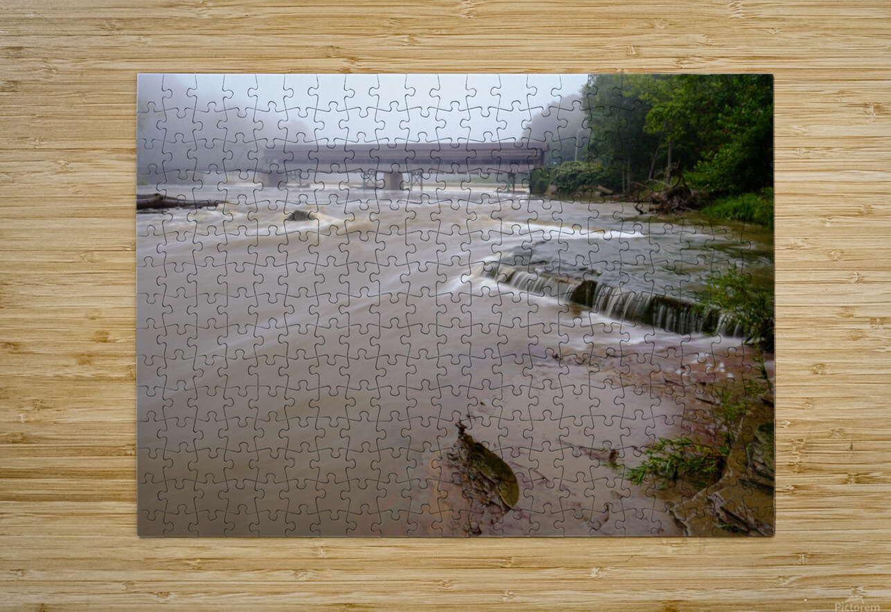 Grand River rapids at Harpersfield Covered Bridge Ohio  HD Metal print with Floating Frame on Back