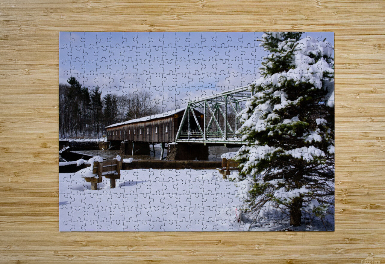 Harpersfield Ohio covered bridge winter and snow  HD Metal print with Floating Frame on Back
