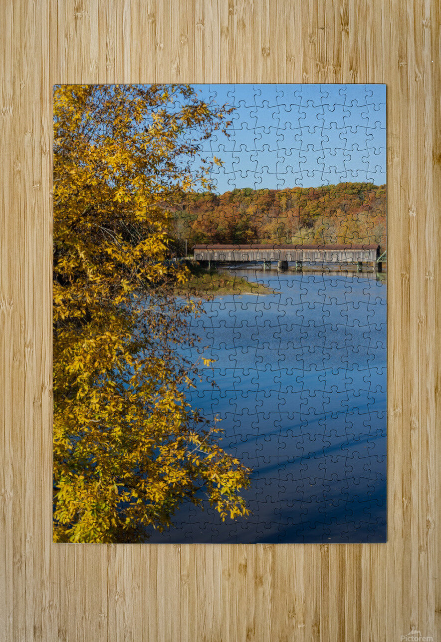 Harpersfield Ohio covered bridge autumn 2020  HD Metal print with Floating Frame on Back