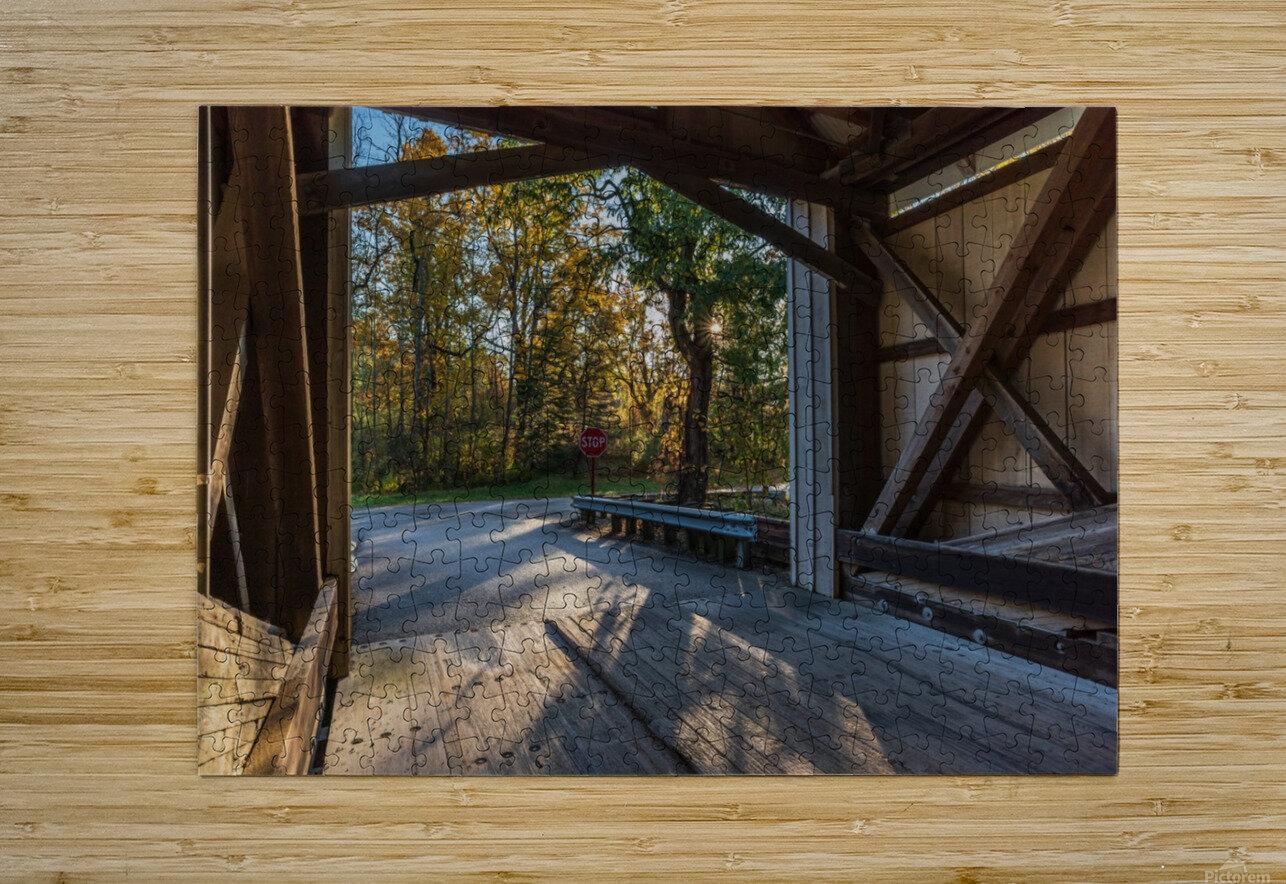 Portal of Mechanicsville covered bridge Ashtabula County Ohio  HD Metal print with Floating Frame on Back