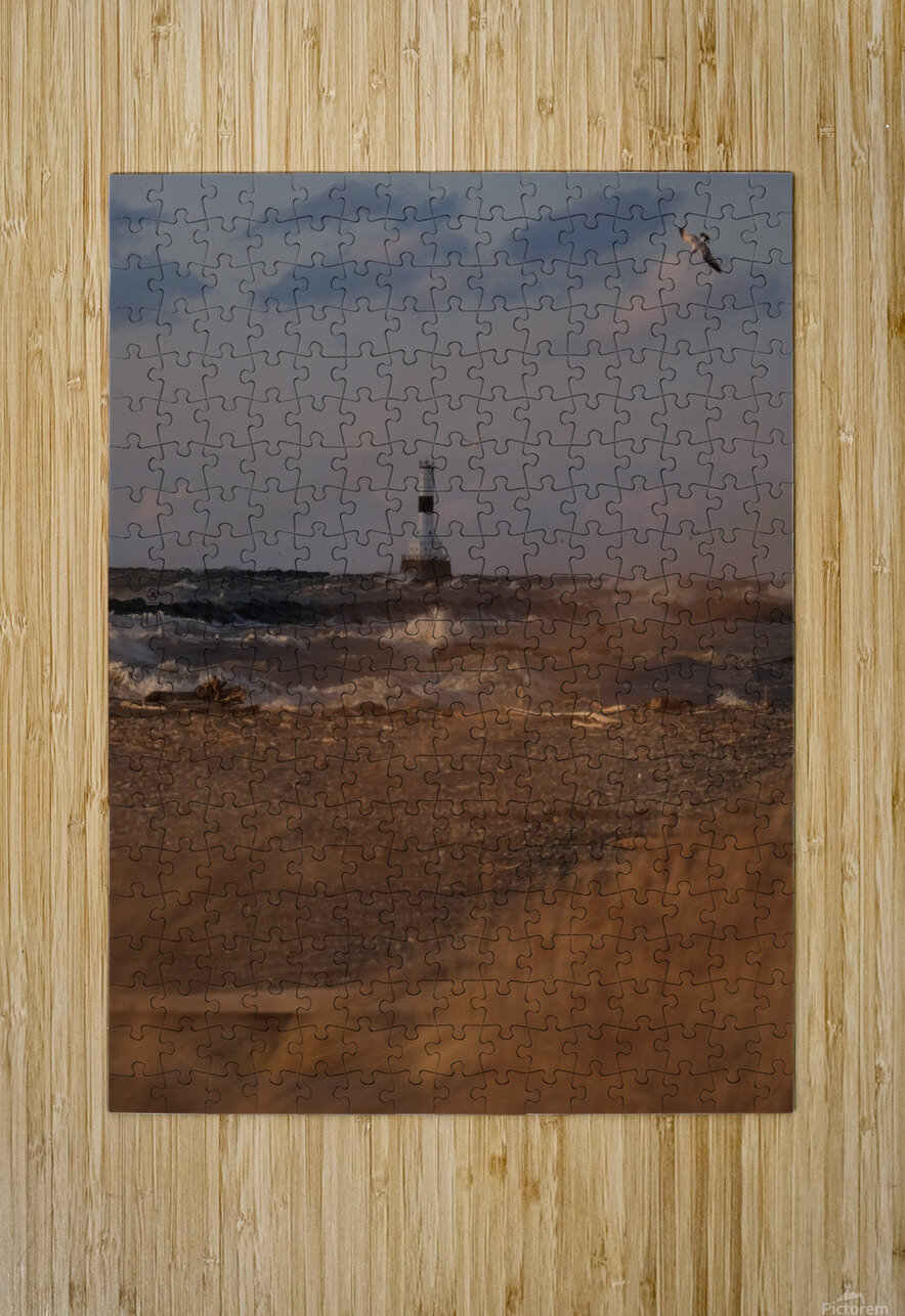 Conneaut Ohio lighthouse during storm  HD Metal print with Floating Frame on Back