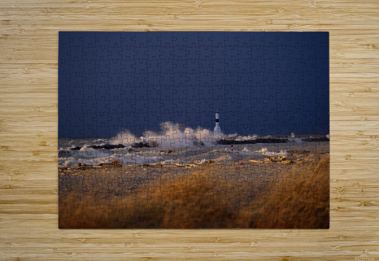 Conneaut lighthouse in storm  HD Metal print with Floating Frame on Back