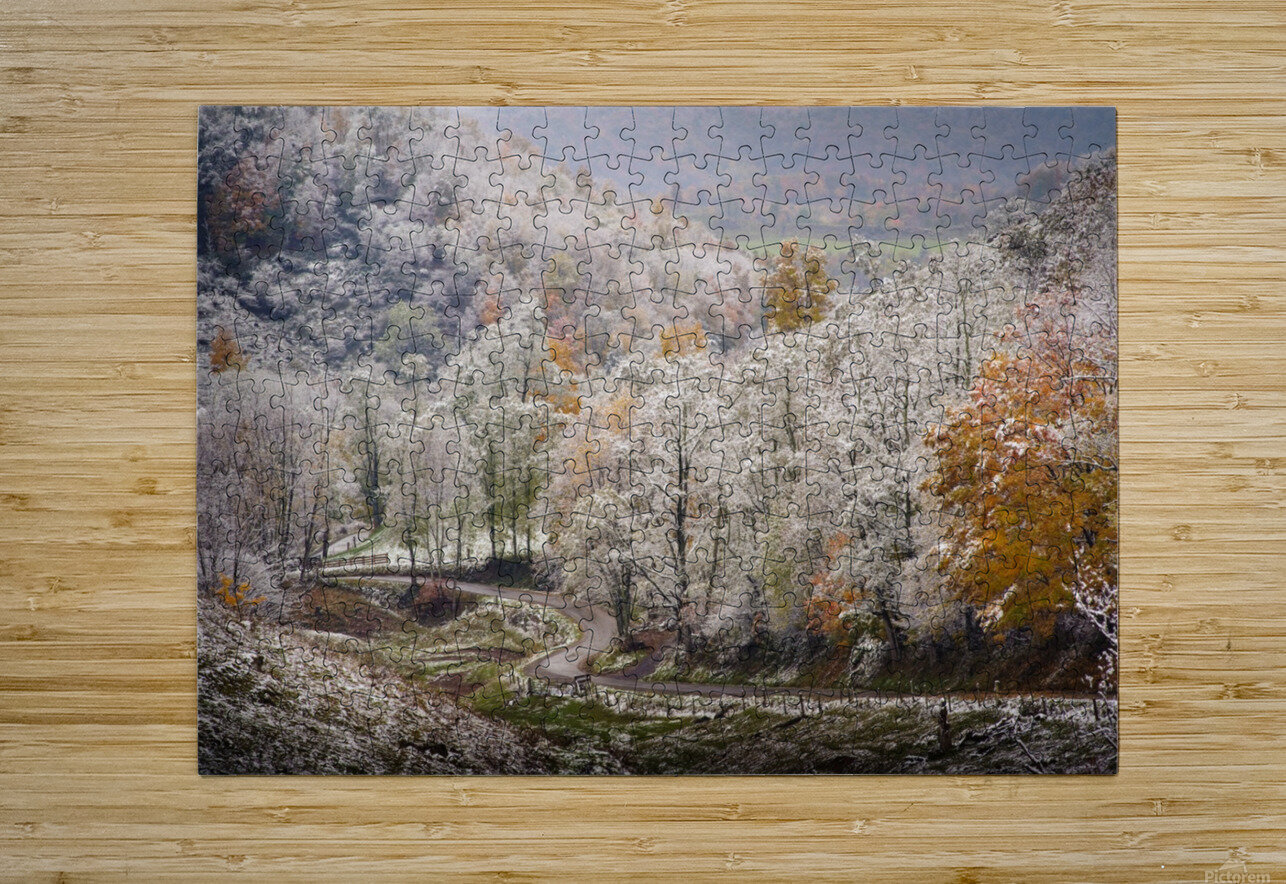 Autumn snow on Back Hollow Road Tucker County West Virginia  HD Metal print with Floating Frame on Back
