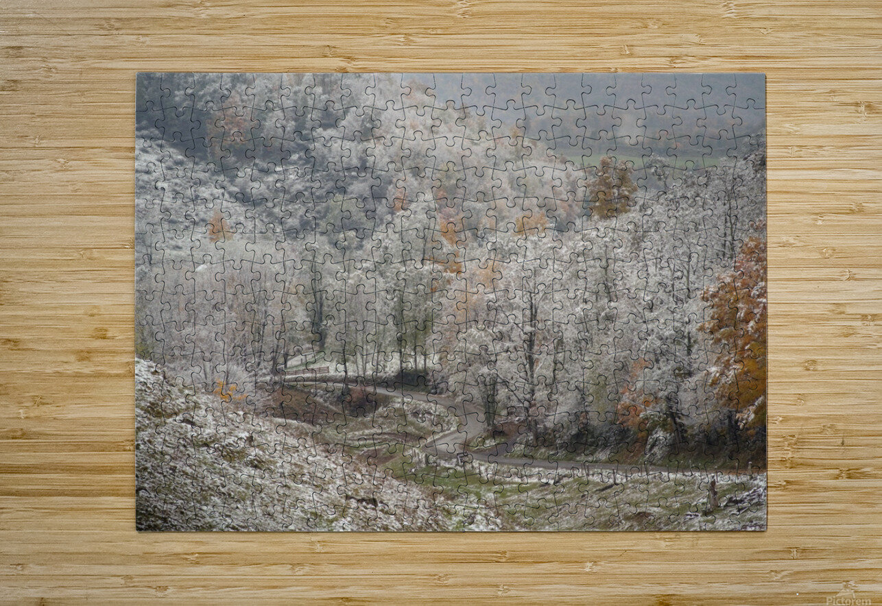 Back Hollow Road Tucker County WV autumn snow  HD Metal print with Floating Frame on Back