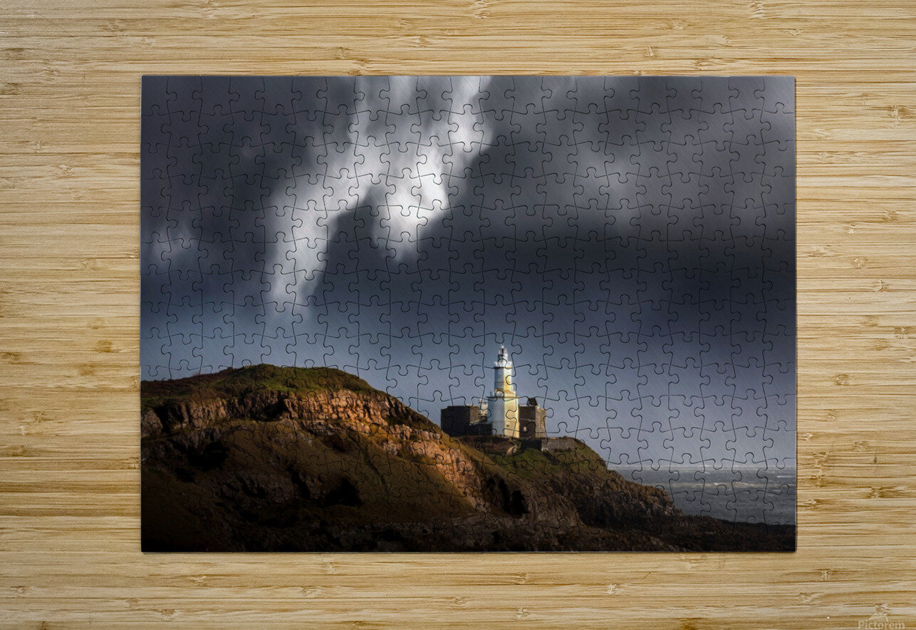 Mumbles lighthouse in the rain  HD Metal print with Floating Frame on Back