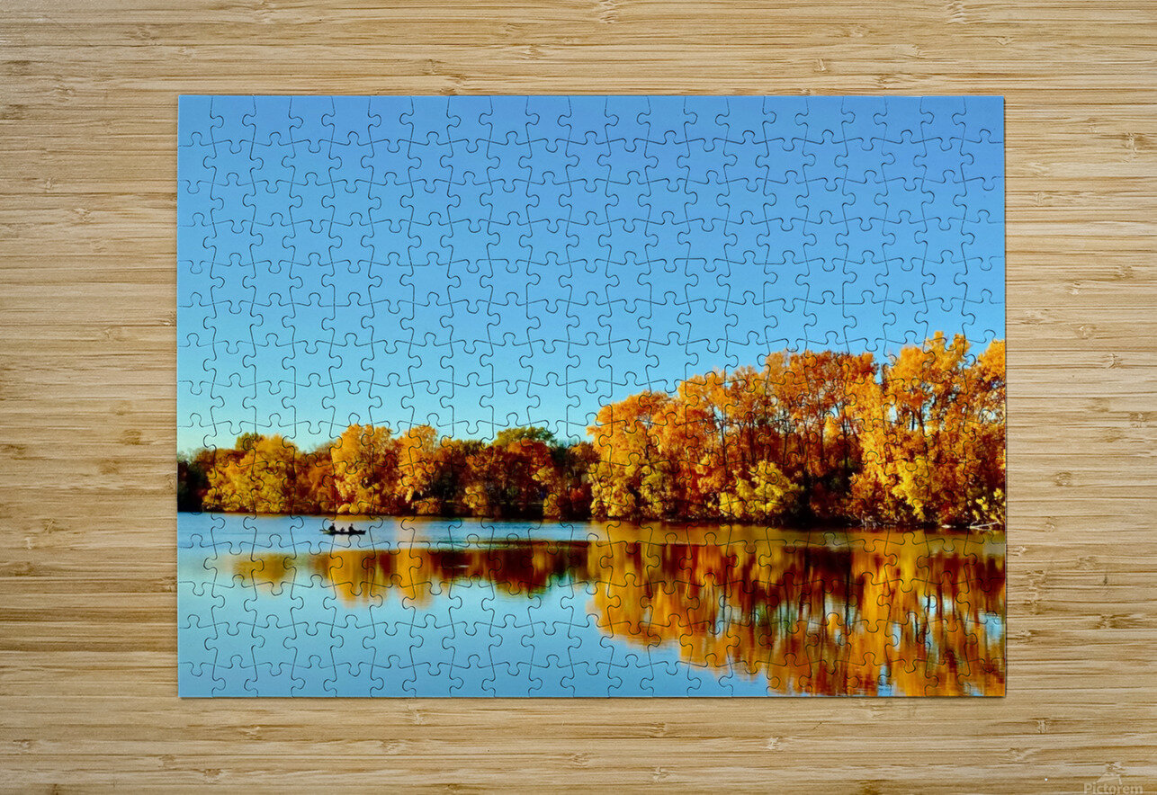 Autumn Canoe  HD Metal print with Floating Frame on Back