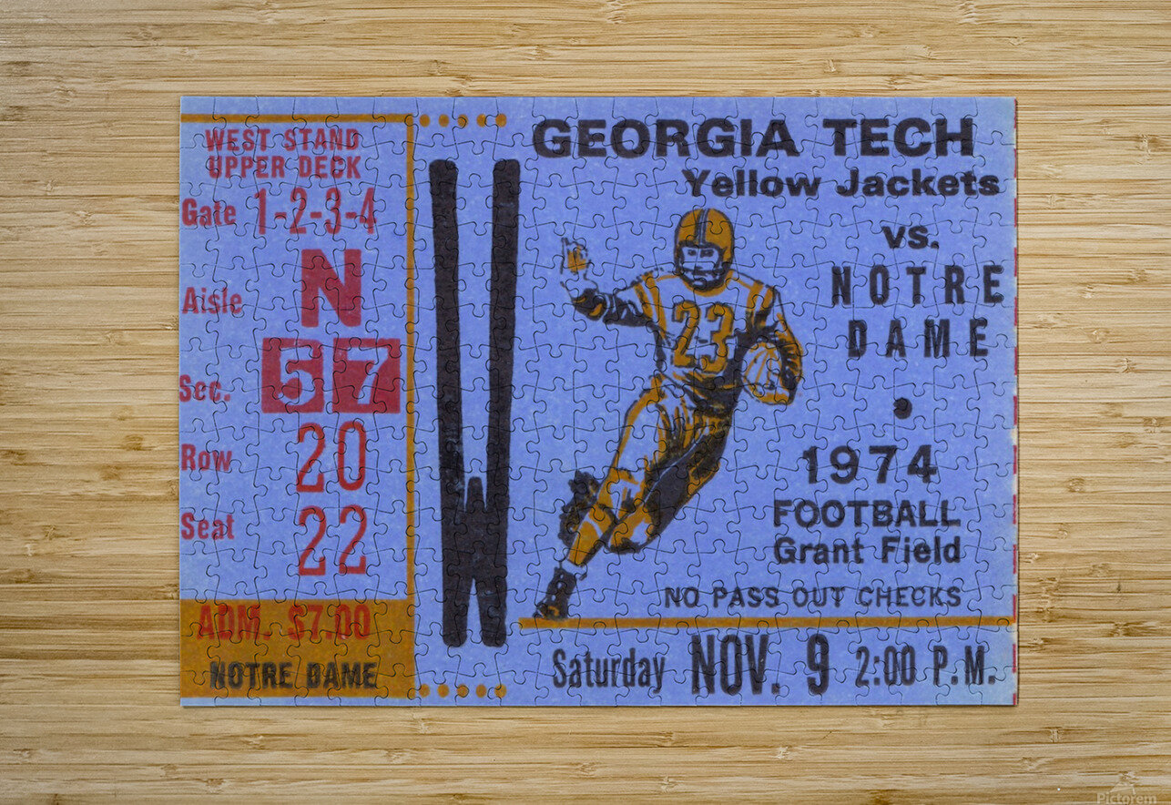1974 Georgia Tech vs. Notre Dame  HD Metal print with Floating Frame on Back