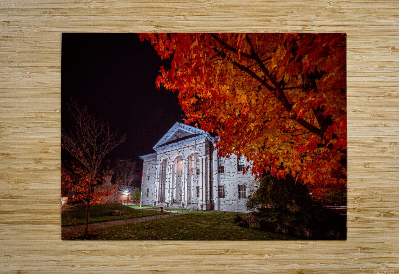 Courthouse Autumn Night  HD Metal print with Floating Frame on Back
