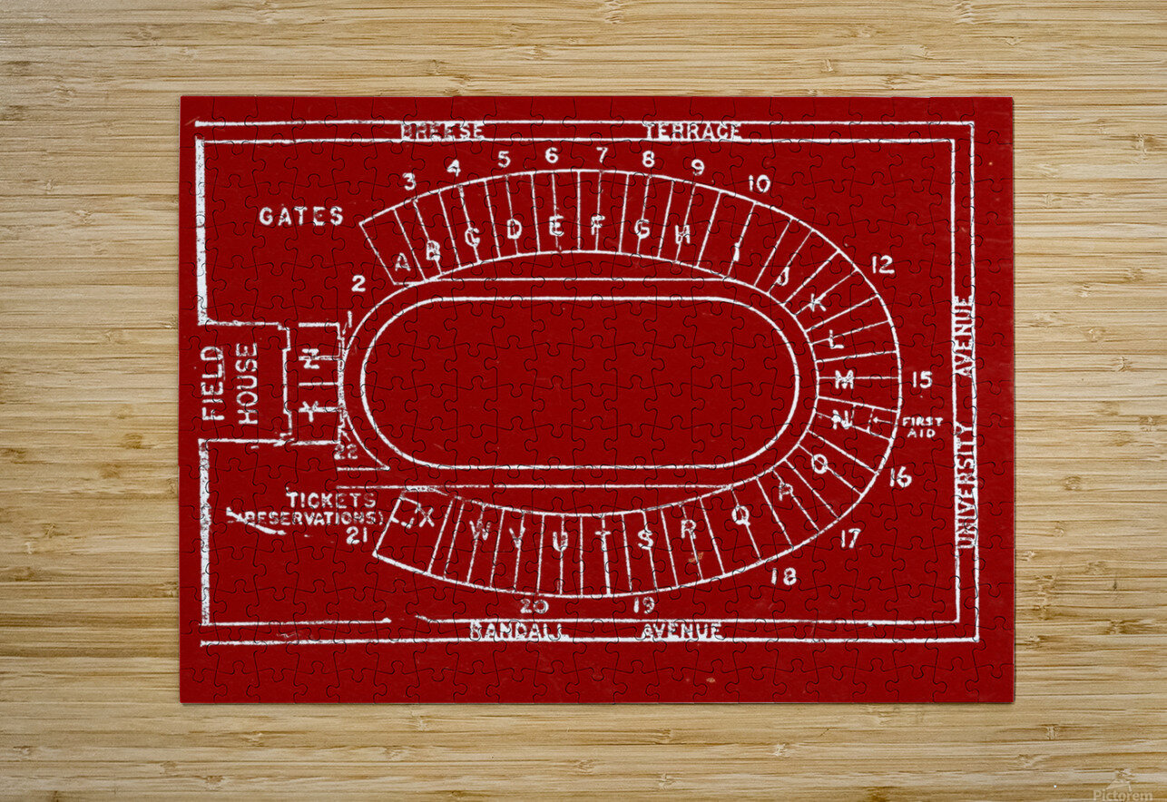 1957 camp randall map art  HD Metal print with Floating Frame on Back