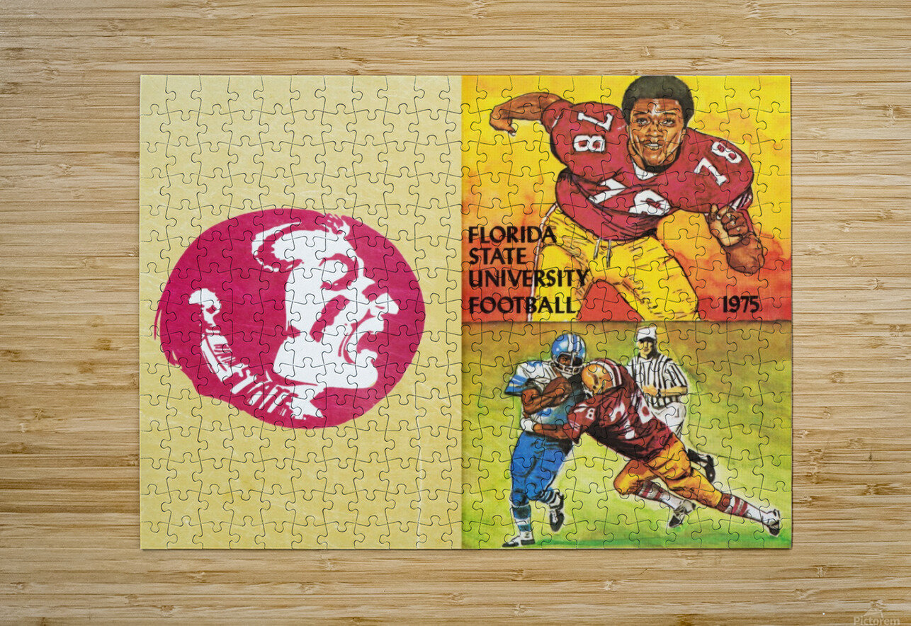 1975 Florida State Football Art  HD Metal print with Floating Frame on Back