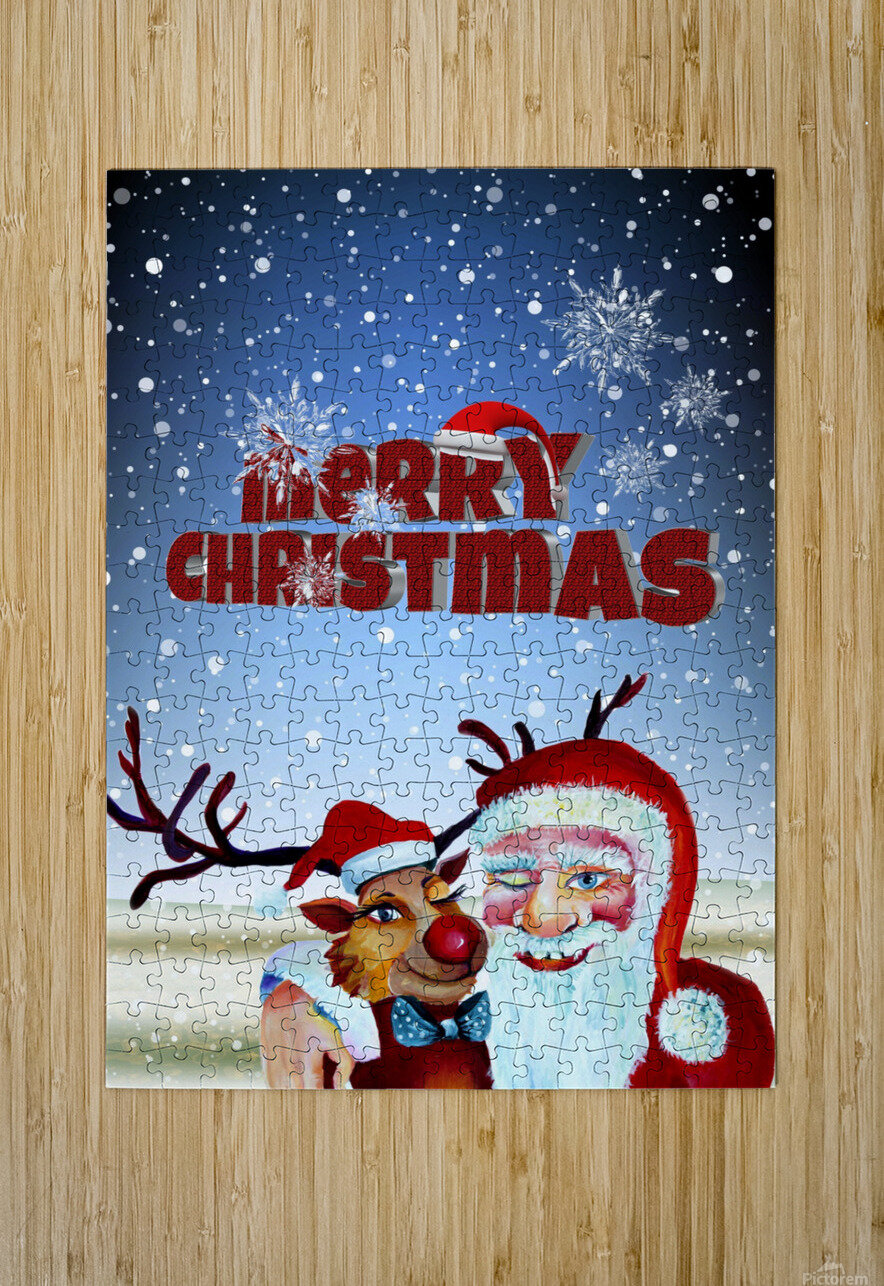 Santa Clause and Rudolph in Magical Winter night  HD Metal print with Floating Frame on Back