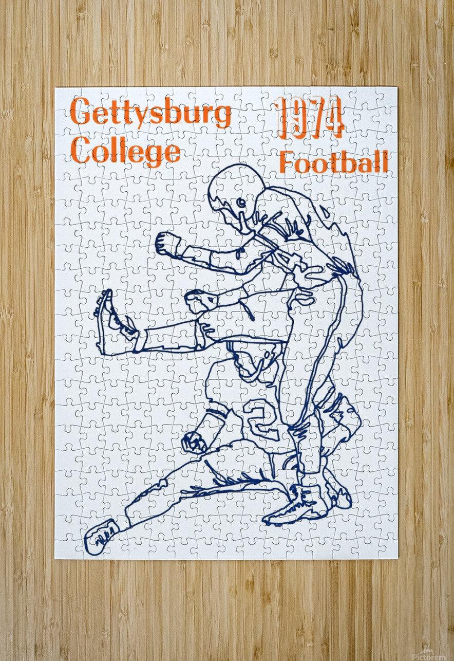 1974 Gettysburg College Football Art  HD Metal print with Floating Frame on Back