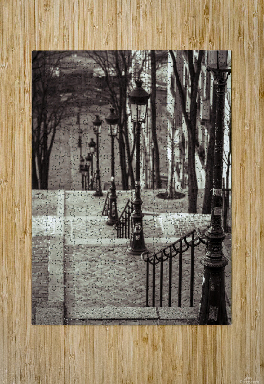 The famous staircase in Montmartre, Paris, France  HD Metal print with Floating Frame on Back