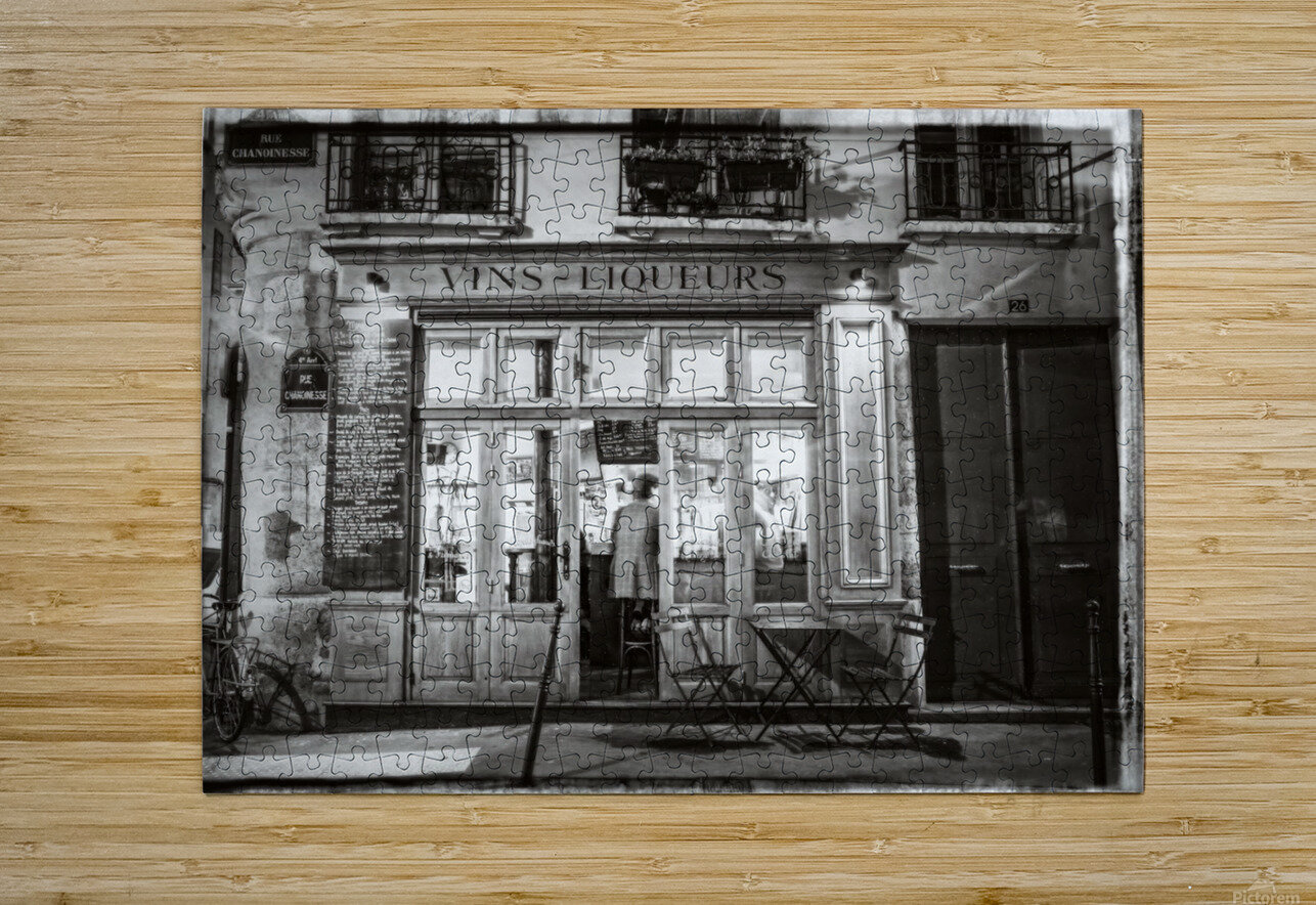 Cafe on street of Montmartre, Paris  HD Metal print with Floating Frame on Back