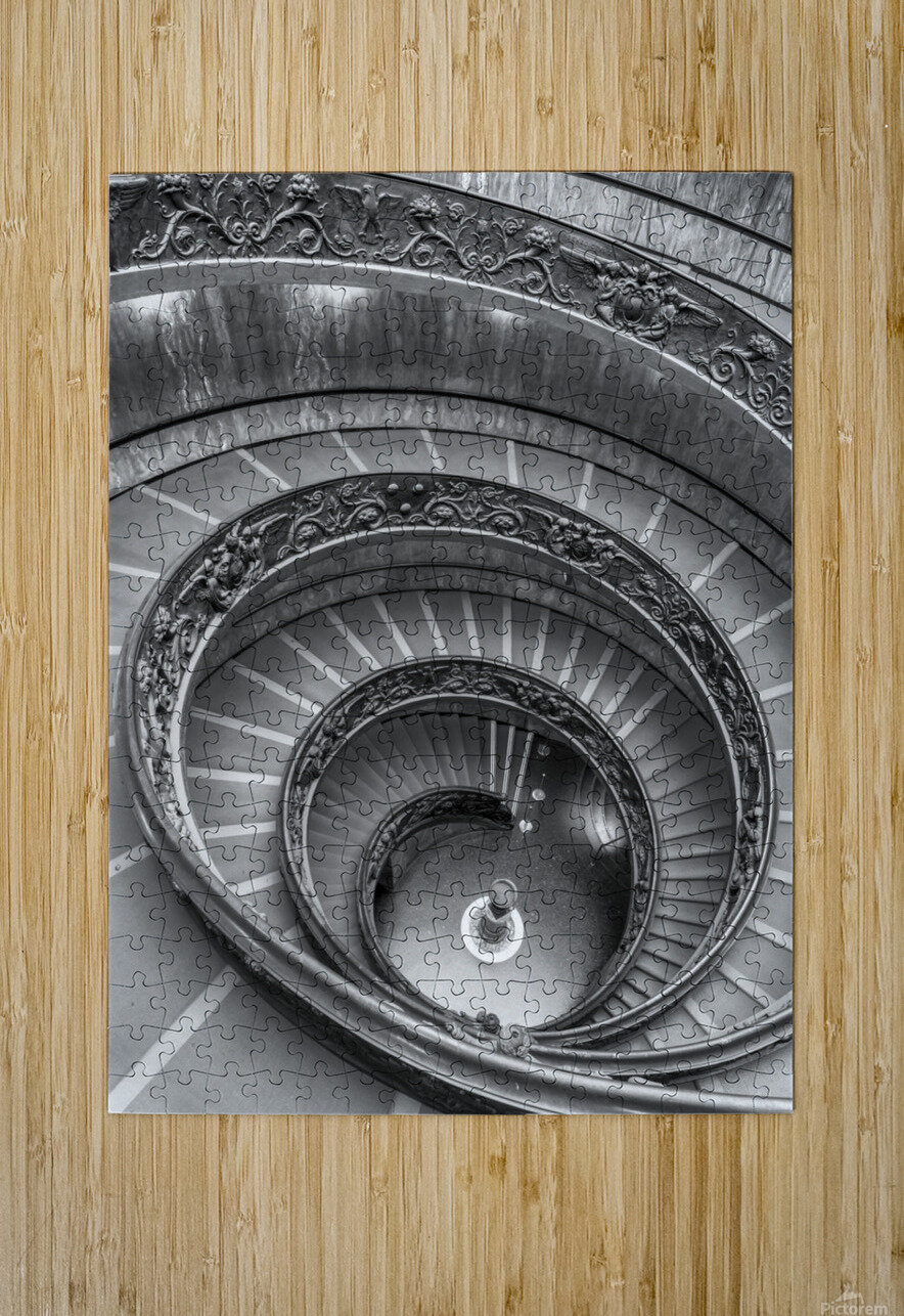 Spiral staircase at the Vatican museum, Rome, Italy  HD Metal print with Floating Frame on Back