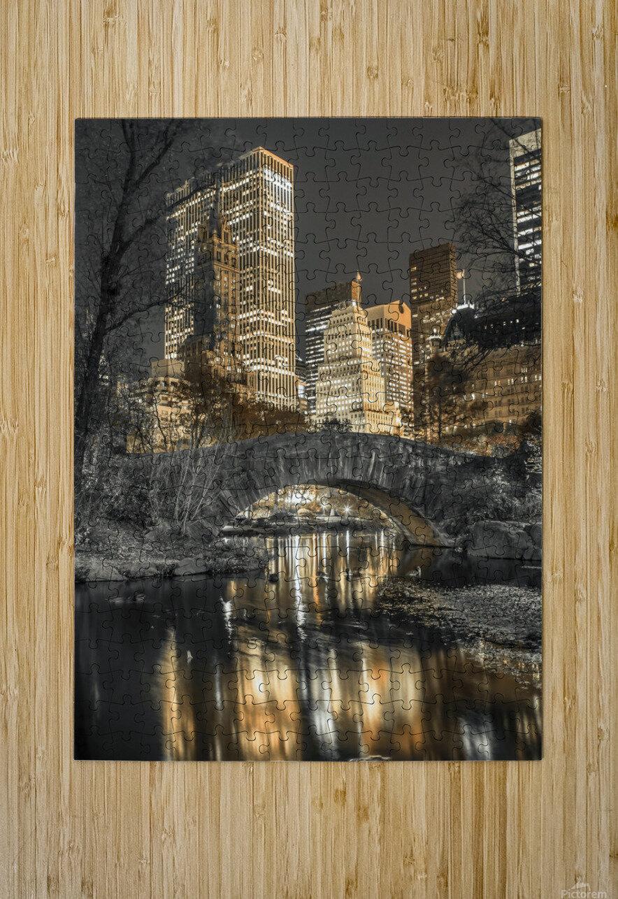 Evening view of Central Park in New York City  Impression métal HD avec cadre flottant sur le dos