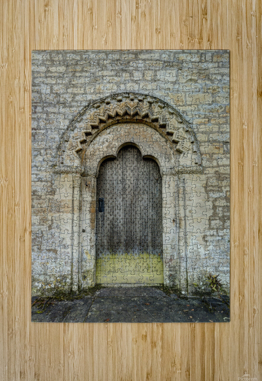 Front door of old cottage in Bibury,  Cotswold, UK  HD Metal print with Floating Frame on Back
