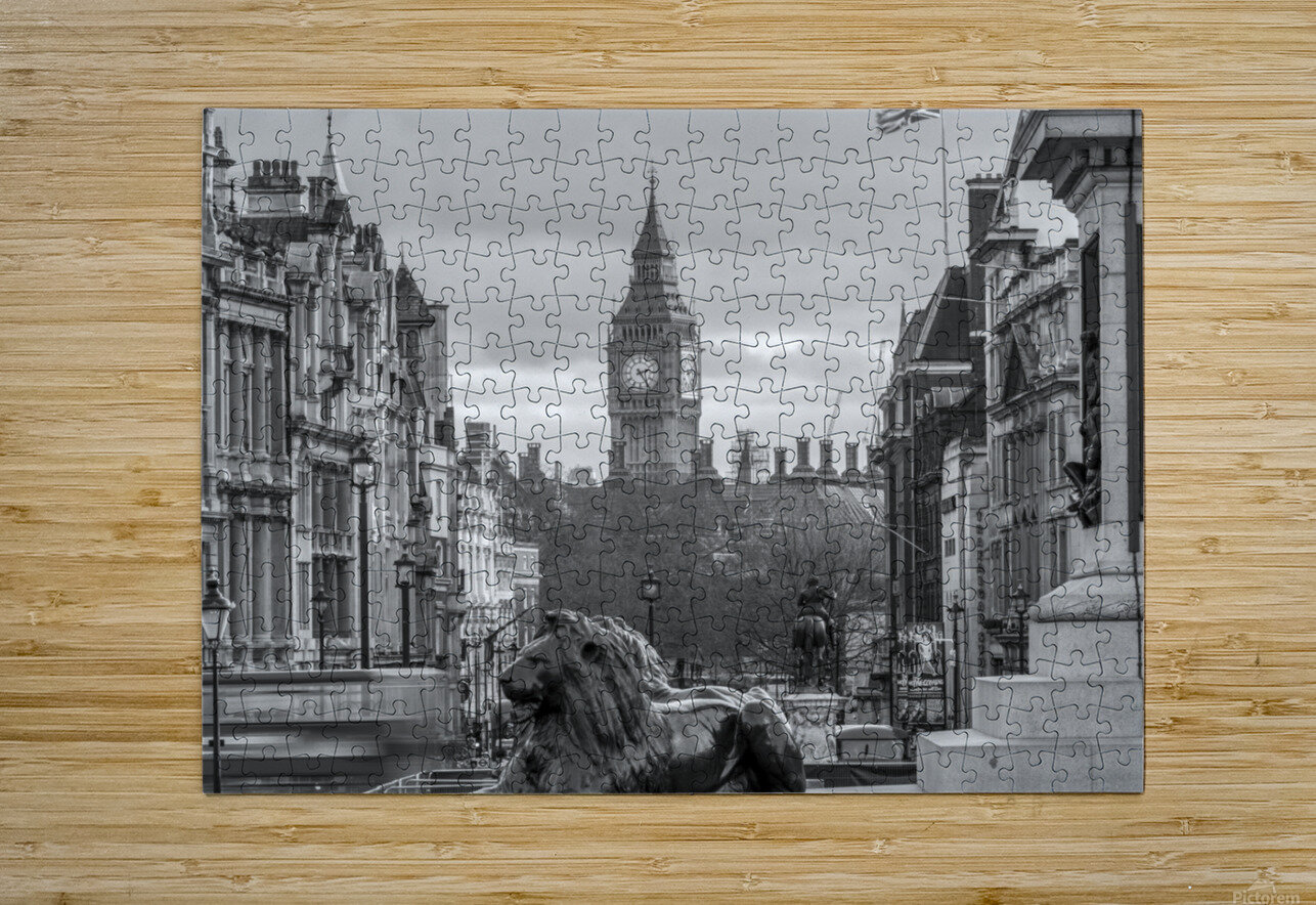 Trafalgar Square with Big Ben in background  HD Metal print with Floating Frame on Back