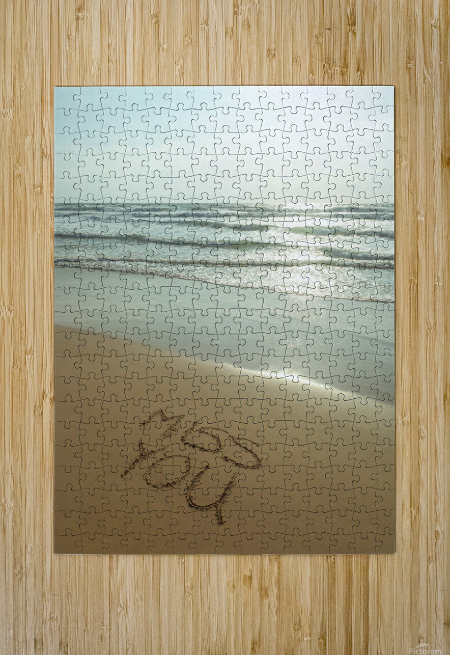 Miss You written on the beach  HD Metal print with Floating Frame on Back
