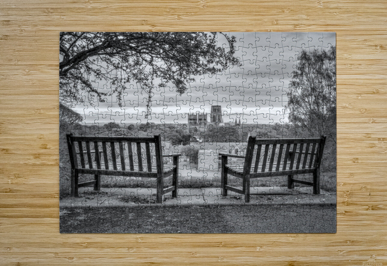 Park benches with Durham Cathedral in background  HD Metal print with Floating Frame on Back