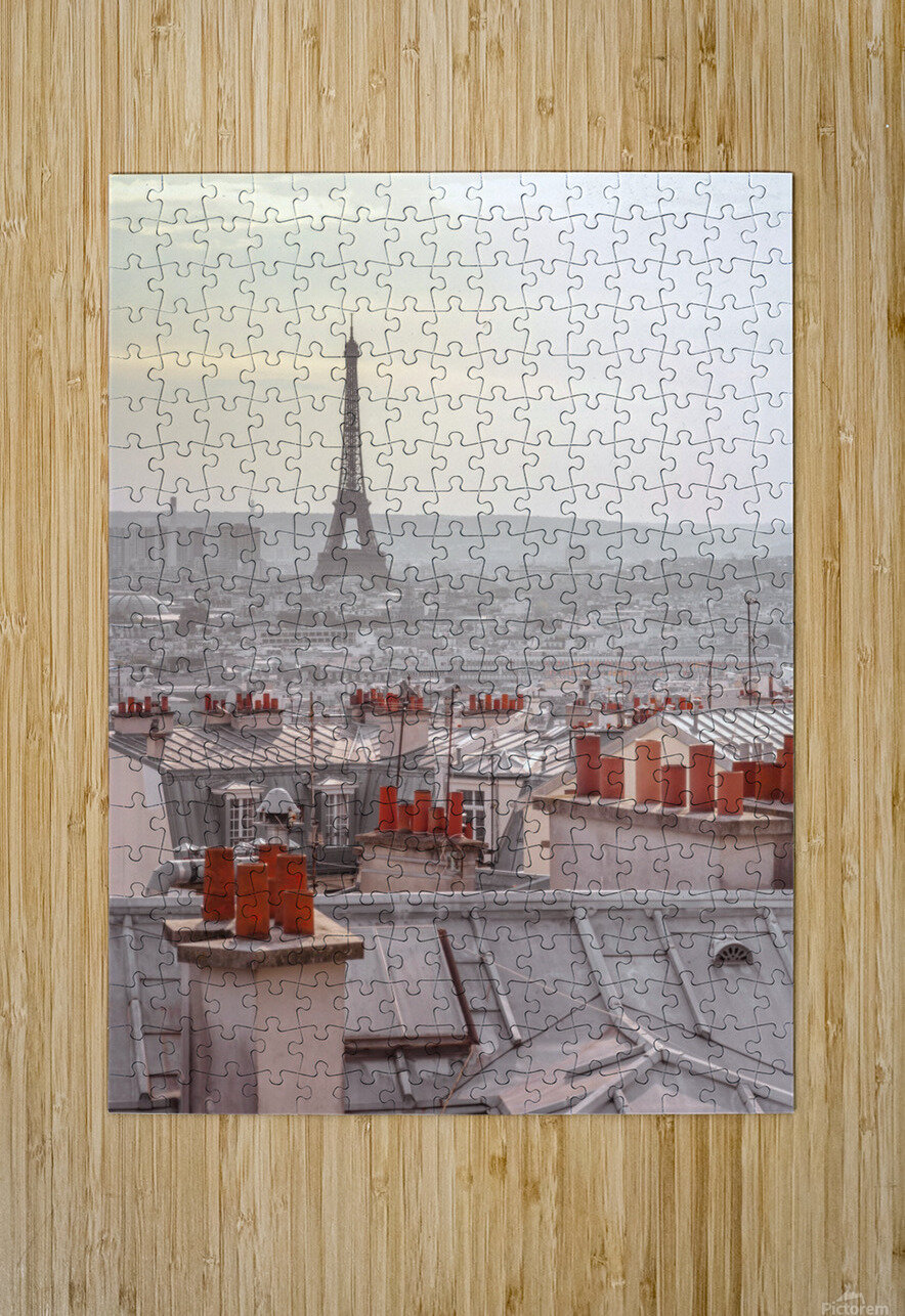 Eiffel Tower seen through the window of an apartment in Montmartre, Paris, France  HD Metal print with Floating Frame on Back