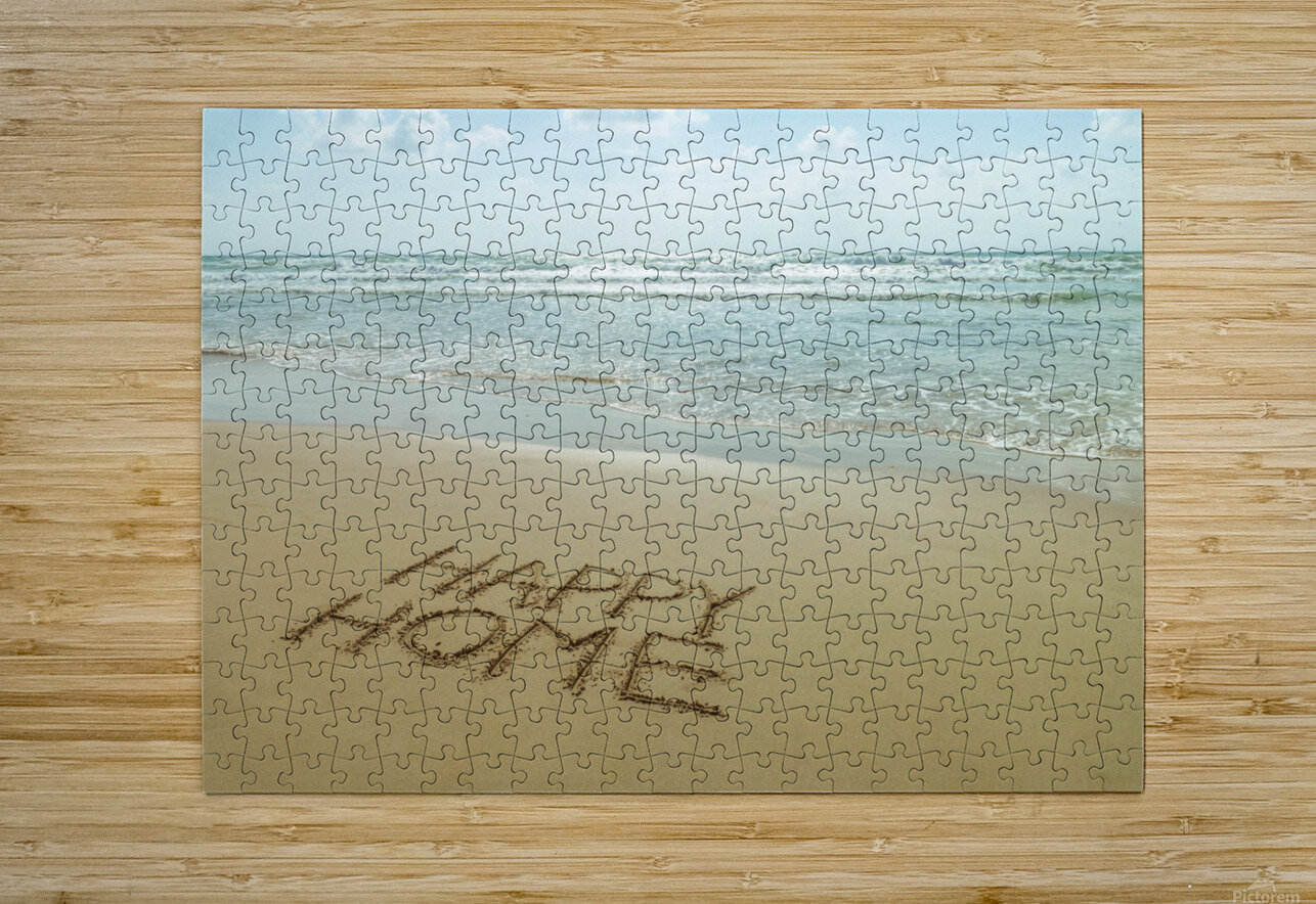 Happy Home written in sand on the beach  HD Metal print with Floating Frame on Back