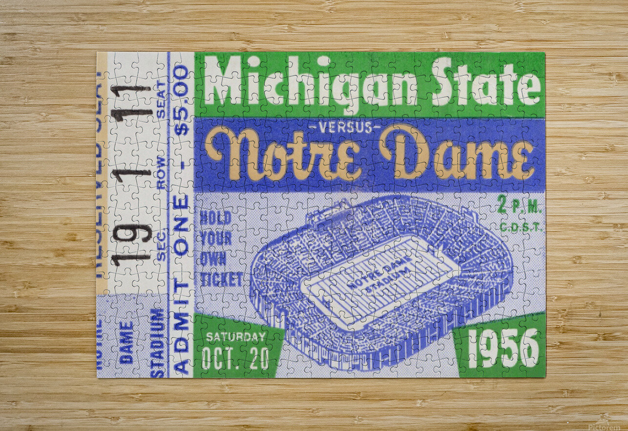 1956 Michigan State vs. Notre Dame  HD Metal print with Floating Frame on Back