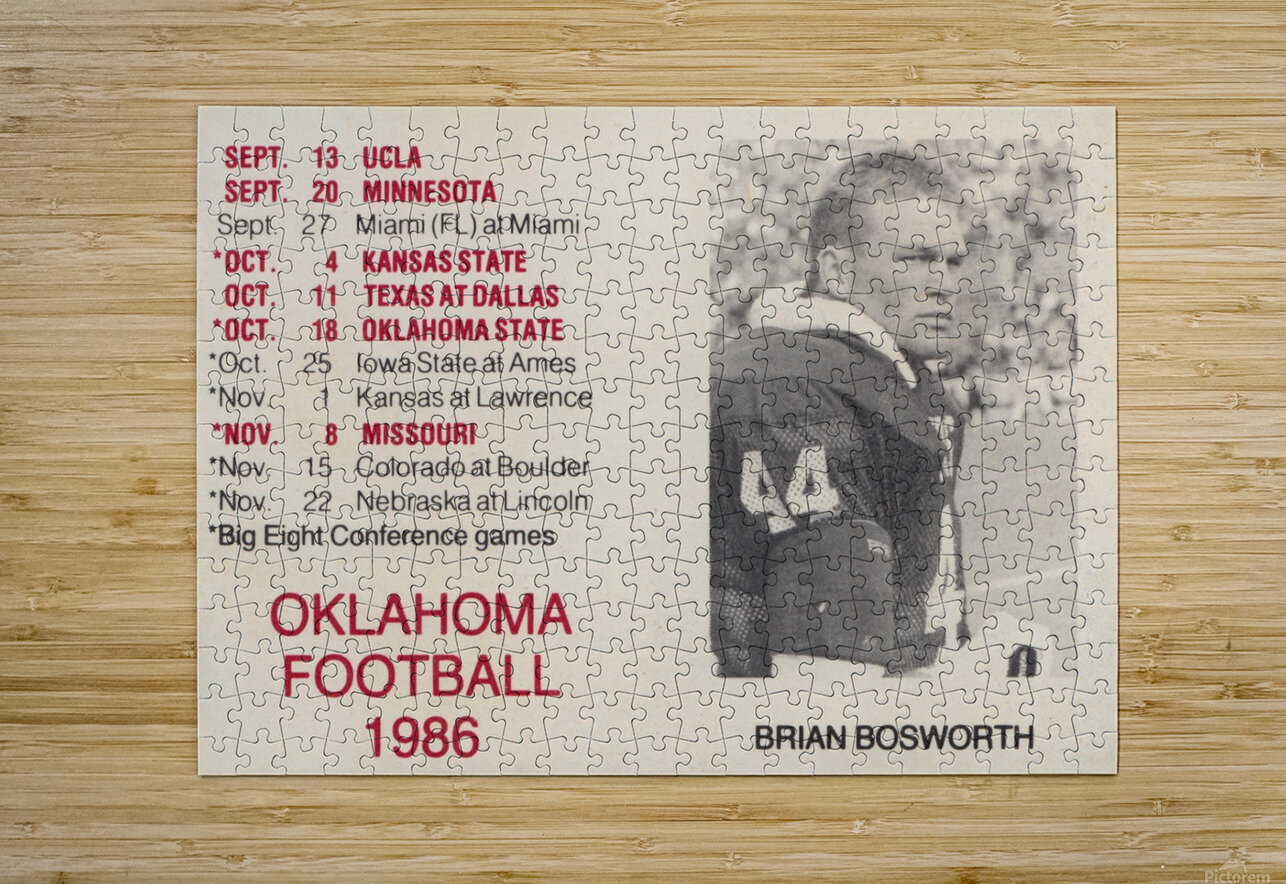 1986 Oklahoma Football Brian Bosworth  HD Metal print with Floating Frame on Back