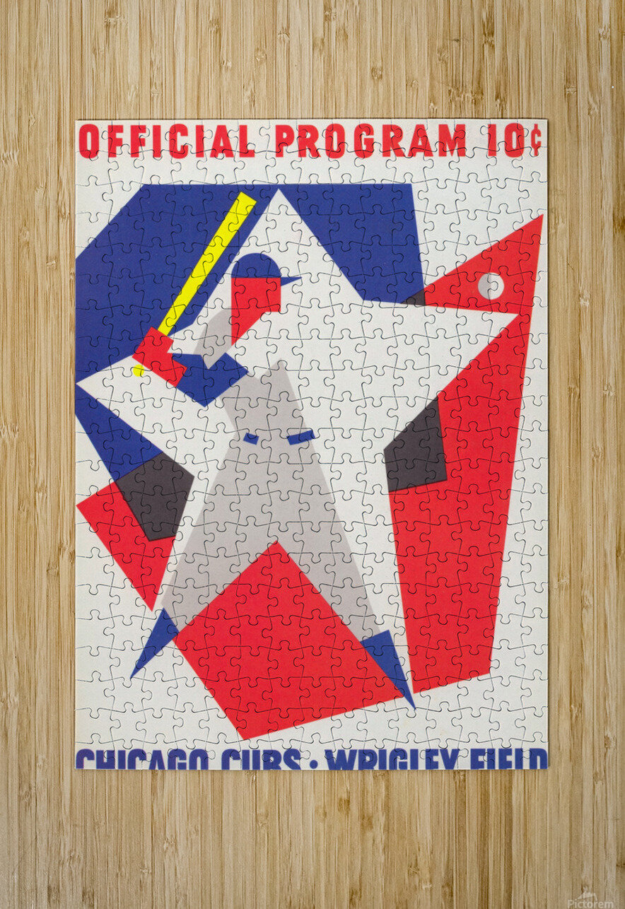 1964 Chicago Cubs Scorecard Wall Art  HD Metal print with Floating Frame on Back
