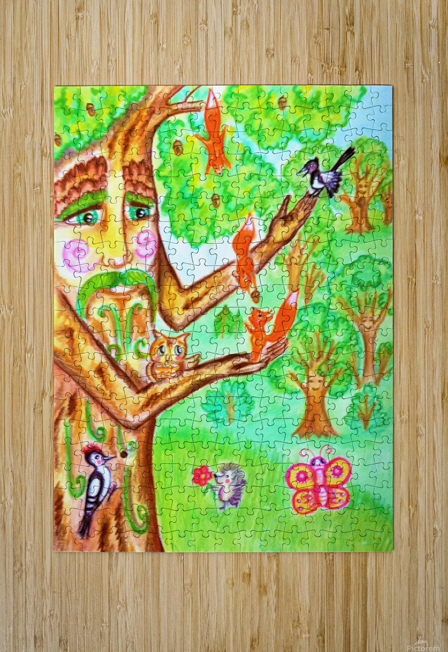 The tree of the prophetic wood and the friends of the wood  HD Metal print with Floating Frame on Back